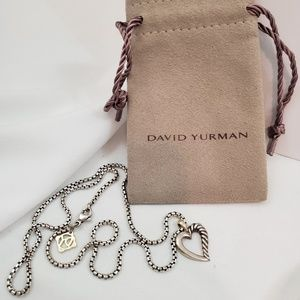 David Yurman Sterling/ Gold Cable Heart Necklace